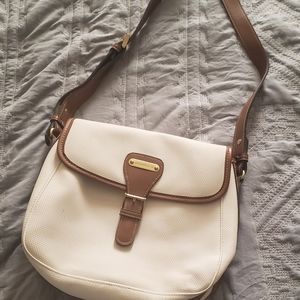White purse with brown and gild detailing